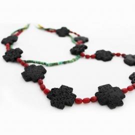 "26"" Coral & Lava Cross Necklace"