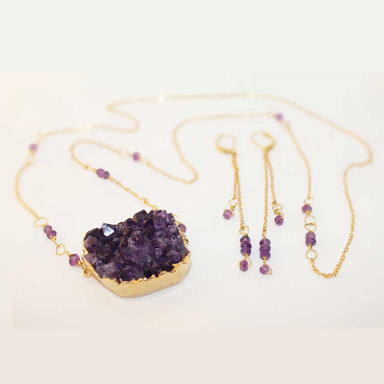 "24"" Amethyst Necklace & Earrings"