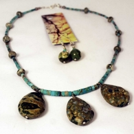 turquoise-heishi-agate-necklace-earrings