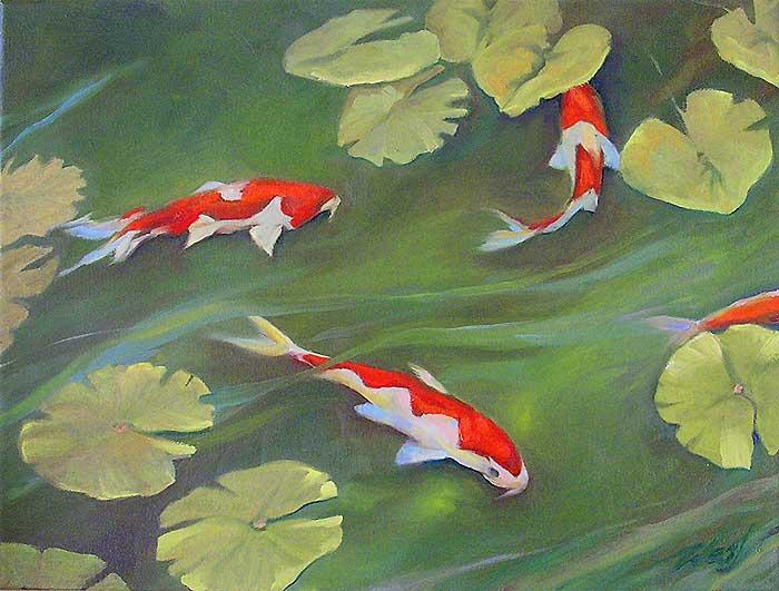 Pond of Koi and Lily Pads