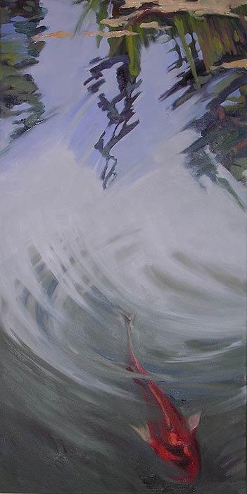 Koi in dark water Painting