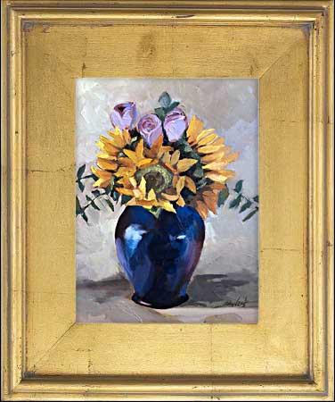 Flowers in Blue Vase Painting