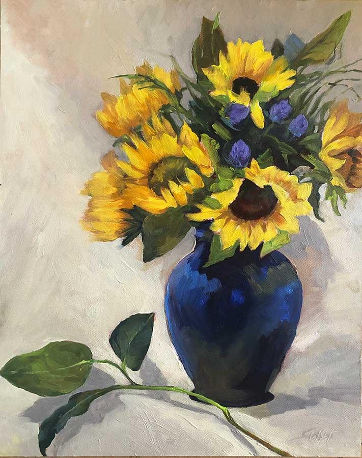 Flower Paintings in Blue Vase